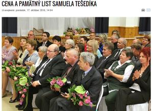Udeľovanie Ceny Samuela Tešedíka v Maďarsku